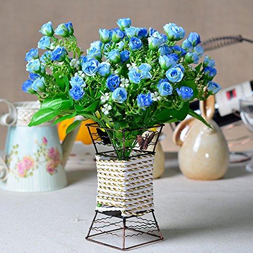 LLPXCC Faux Fleurs Accueil création florale table à manger salle de séjour modernes simples de style européen fleurs décoratives fleurs en plastique plantes en pot pastorale bleu rose