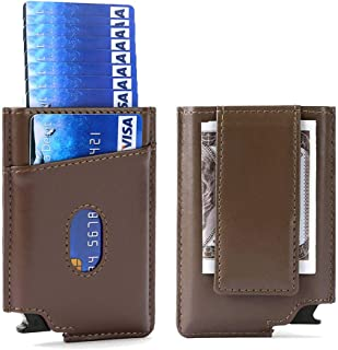 Pop Up Wallet Leather RFID Minimalist Wallet Automatic Card Holder w/Money Clip (Upgraded Light Coffee)