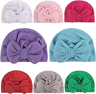 قبعات عمامة الأطفال من Sainfee 8 قطع بعمامة عمامة عمامة لطيفة لينة قبعة طفل رضيع