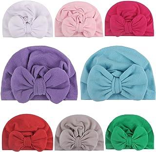 Sainfee 8 Pieces Baby Turban Hats Knot Headbands Newborn Baby Girl Soft Cute Turban Knot Toddler Hat