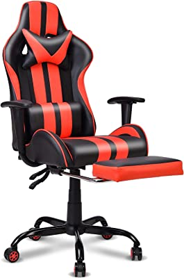 Gaming Chair,Large Size Ergonomic Racing Style PC Game Computer Chair with Headrest Lumbar Support Footrest Adjustable Recliner PU Leather Video Computer Chair(Red)