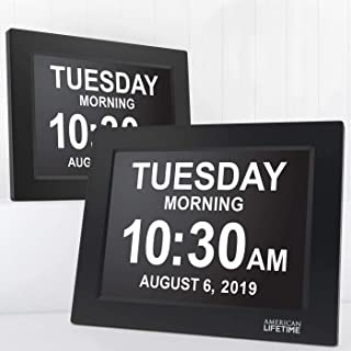 QRY Day Clock Extra Large Impaired Vision Digital Clock With Battery Backup And 5 Alarm Options Great Gift Ideas, 2 Pack B...