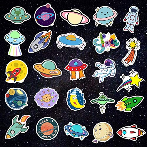 Outer Space Stickers Toys for Children Alien UFO Astronaut Rocket Ship Planet Sticker To Scrapbooking Skateboard Laptop 50 PCS