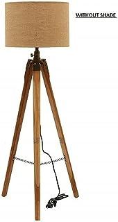 Pied de lampadaire trépied en bois sans lampe finition antique (abat-jour et ampoule)