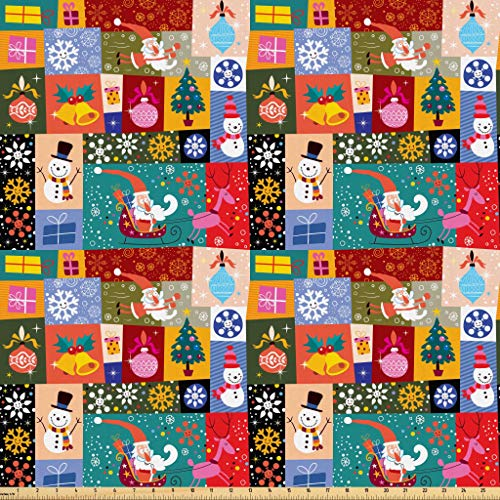 Lunarable Christmas Fabric by The Yard, Modern Design Theme Funny Xmas Winter Patterns Kids Children Nursery Theme, Microfiber Fabric for Arts and Crafts Textiles & Decor, 2 Yards, Blue Red