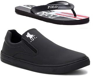 Tênis Slip On Casual Polo Plus Masculino Extra Macio + Chinelo