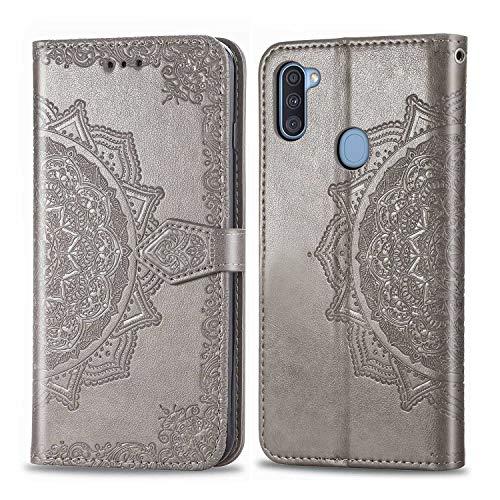 Bear Village Hülle für Galaxy M11, PU Lederhülle Handyhülle für Samsung Galaxy M11, Brieftasche Kratzfestes Magnet Handytasche mit Kartenfach, Grau