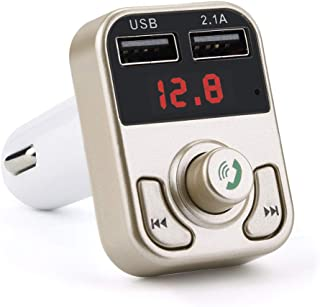 Sonmer Car FM Transmitter Wireless Radio Adapter USB Charger Noise Cancellation MP3 Player,Support Bluetooth/TF Card/U Disk Player/Bluetooth Hands-free Calling (Gold)