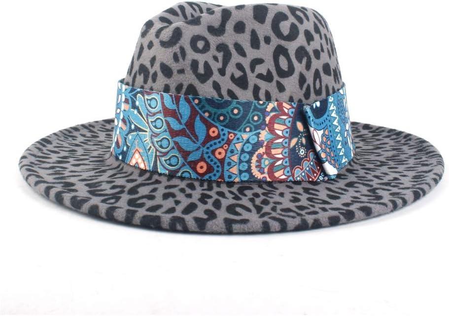 LIRRUI Top Hat Women's Men's Jazz Wool Polyester Fedora Hat Fashion Autumn Winter Sea Ribbon Decoration Church Hat (Color : Gray, Size : 56-58cm)