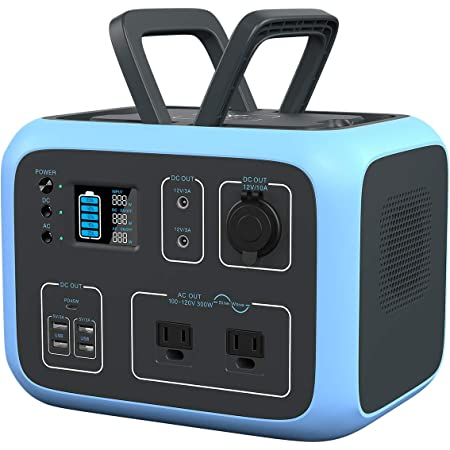 MAXOAK Portable Power Station 500Wh BLUETTI AC50S Solar Generator Lithium Battery Backup for Outdoor Camping Van Trip (Regulated 12V,MPPT,Wireless Charging,PD 45W USB-C,,2AC Pure Sine-Wave Outlets)