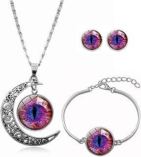 JczR.Y Classic Cat Eyes Crystal Jewelry Sets Dragon Eyes Moon Shape Necklace Bracelet Earrings for Women Fashion Jewelry