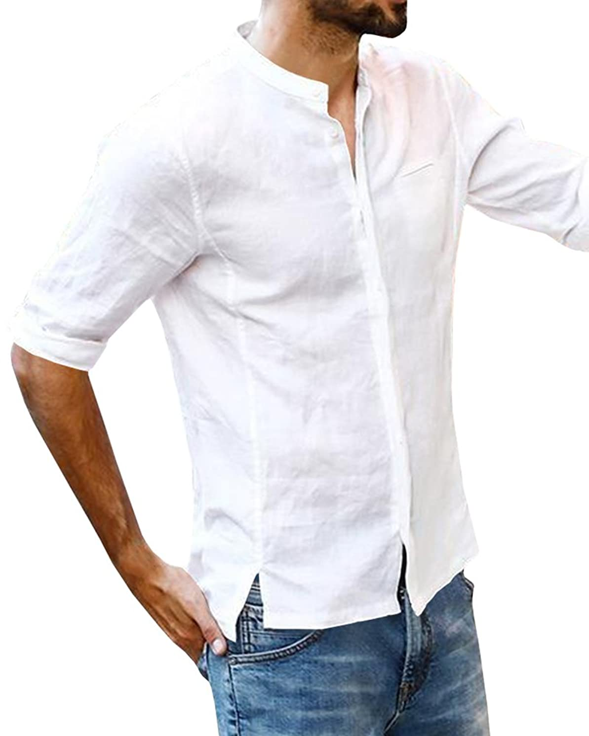 Beotyshow Mens 3/4 Short Sleeve Henley Shirts Banded Collar Button Down Shirt Linen Casual Shirts for Men