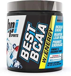 BPI Sports Best BCAA with Energy - Healthy BCAA Powder - Improved Performance - Lean Muscle Building - Accelerated Recovery - Proprietary Energy Blend - Rainbow Ice - 25 Servings - 8.8 oz.