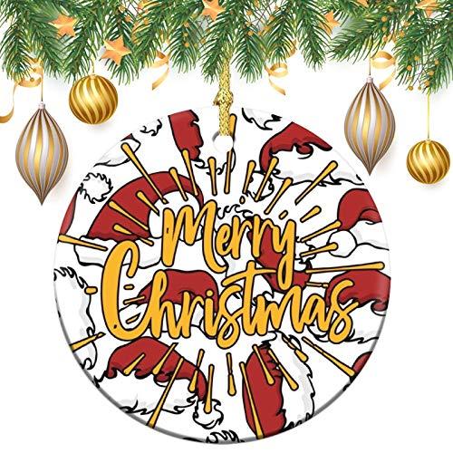 None-brands Monogram Ornament Wreath Ornament Xmas Tree Ornament Custom 2020 Ornament Merry Christams Xmas Gift,Christmasation,Round Flat Keepsake