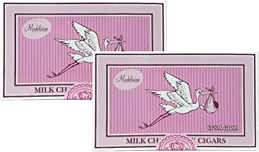 (2 Pack) Madelaine Chocolates It's a Girl Gift Box - Solid Premium Milk Chocolate Cigars Wrapped In Pink Italian Foil - 24 Cigars