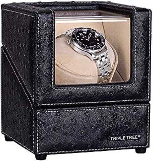 Triple árbol reloj Winder con almohada de felpa flexible, en concha de madera y piel negra, motor japonés, 4 modos de rotación de ajuste, ajuste de reloj automático de mujer y hombre.