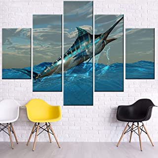Fish Wall Art for Living Room Big Blue Marlin Fish Pictures Ocean Fishing Paintings 5 Piece Prints Artwork on Canvas Bedroom Home Decor Wooden Framed Gallery-Wrapped Ready to Hang(60''W x 40''H)