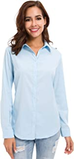 Womens Button Down Basic Official Shirts Long Sleeve Simple Formal Blouse Tops
