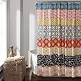 Lush Decor 16T000209 Bohemian Striped Shower Curtain Colorful Bold Design, 72' x 72', Turquoise and Orange