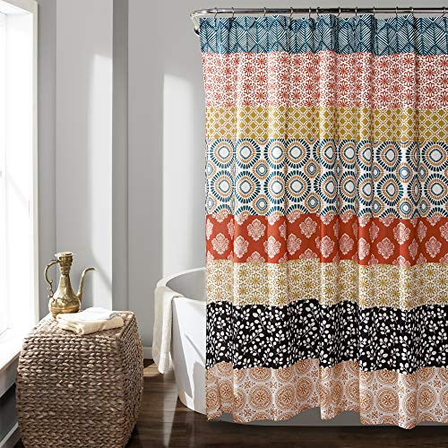 "Lush Decor 16T000209 Bohemian Striped Shower Curtain Colorful Bold Design, 72"" x 72"", Turquoise and Orange"