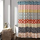 "Lush Decor 16T000209 Bohemian Striped Shower Curtain Colorful Bold Design, 72"" x 72"", Turquoise and Orange"