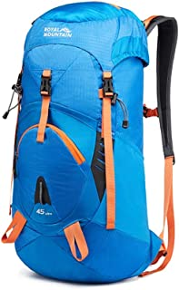 45L55L65L Outdoor Sports Backpack Camping Hiking Waterproof Backpack Mountaineering Bag with Rain Cover Travel Hiking XLSM (Color : Blue, Size : 77cm×35cm×22cm)