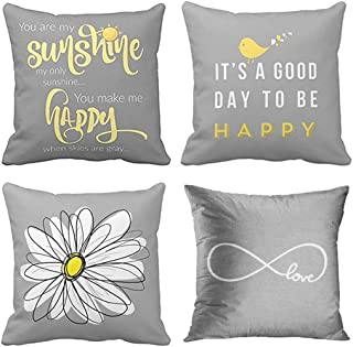 Emvency Set of 4 Throw Pillow Covers Yellow Gray with You are My Sunshine Chevron Birds Cute Decorative Pillow Cases Home Decor Square 16x16 Inches Pillowcases