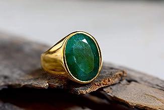 Minimalist Men Ring Oval Signet Men Ring Silver Mens Ring Men Ring Green Emerald Sterling Silver Men/'s Wedding Engagement Jewelry Ring
