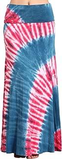Womens Casual Tie Dye Solid Boho Hippie Long Maxi Skirt w Lace Detail S-3XL