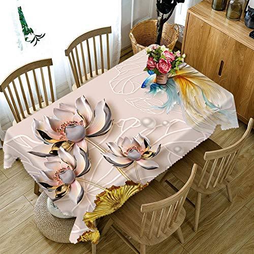 XXDD Mantel de patrón de Loto Colorido 3D Hojas de Loto Verde Flores Mantel Rectangular de algodón decoración del hogar variación A4