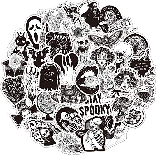 50PCS Gothic Retro Skull Black and White Thriller Horror Style Toy Sticker for Water Bottle Skateboard Luggage Trolley Laptop Doodle Cool Sticker (Gothic)