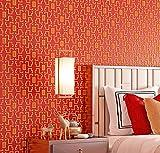 Rollo de papel pintado tradicional de 9.5 x 0.53 m, con textura de 7 colores, no tejido, para dormitorio, sala de estar, 1.73 pies de ancho x 31.2 pies de largo = 5.035 ㎡ (54 pies cuadrados) (rojo)