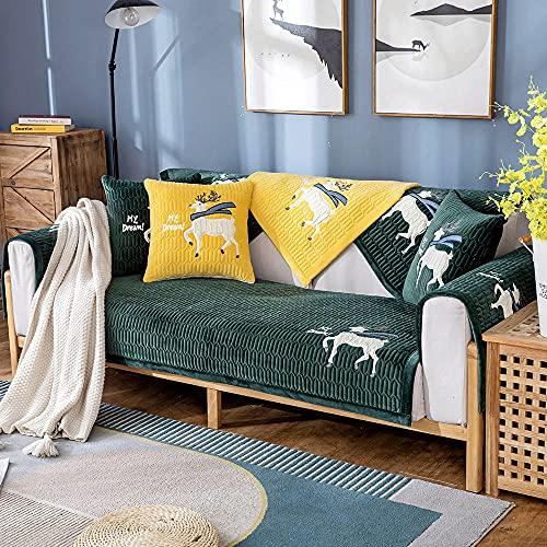 Homeen Cubierta de sofá Antideslizante de Felpa,Protector de sofá de 2/3/4 plazas,Funda de sofá de Invierno de otoño para sofá de Esquina/l sofá de Esquina-Verde_90 * 240cm