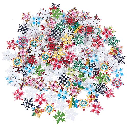 JETTINGBUY 200 Pcs Christmas Wooden Buttons Wooden Christmas Snowflake Buttons 18mm Printed Snowflakes Buttons for DIY Christmas Sewing Crafts Scrapbooking Decoration