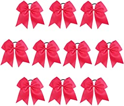 CN Girls Cheer Bow with Ponytail Holder for Cheerleading Girl Pack of 10 Shocking Pink