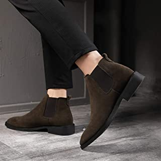 PengCheng Pang Casual Ankle Boots for Men Chelsea Boot Pull on Suede Pointed Toe Block Heel Elastic Sides Anti-Slip (Fleece Lined Optional) (Color : Brown, Size : 5 UK)