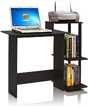 FURINNO Efficient Home Laptop Notebook Computer Desk, Square Side Shelves, Espresso/Black