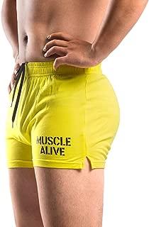 "MUSCLE ALIVE Mens Bodybuilding Shorts 3"" Inseam Cotton"