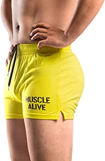 "MUSCLE ALIVE Mens Bodybuilding Shorts 3"" Inseam Cotton"