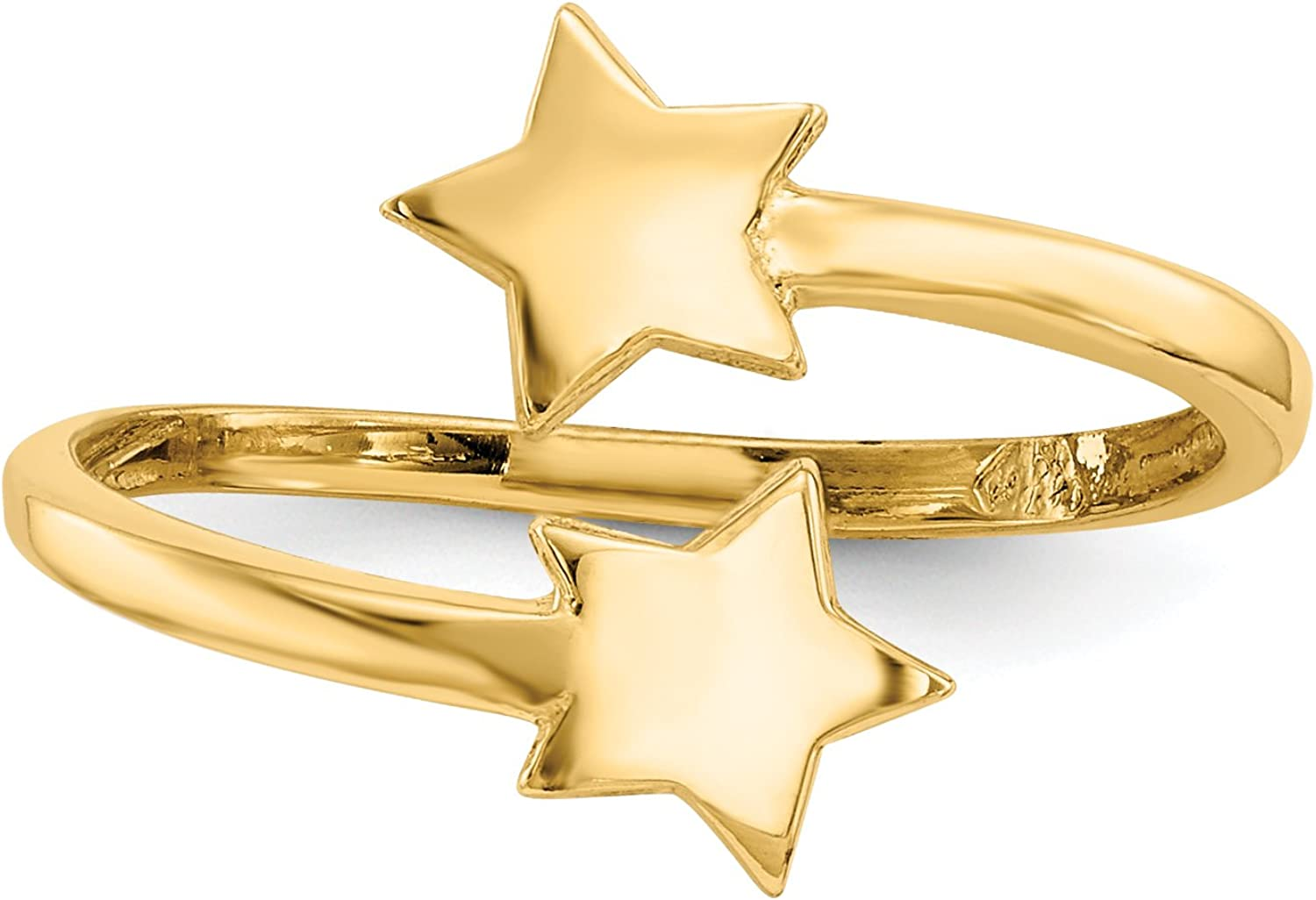 14k Yellow Gold Polished Double Stars Toe Ring