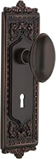 Nostalgic Warehouse Egg & Dart Plate with Keyhole Privacy Homestead Door Knob in Timeless Bronze