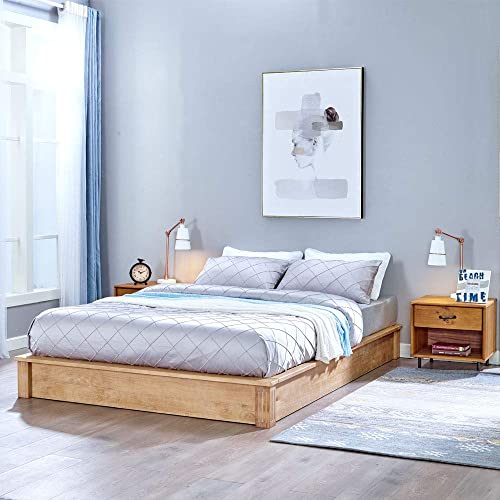 MUSEHOMEINC California Rustic Solid Wood Platform Bed Low-Profile Style with Wooden Slats Support/No Boxspring Needed,Beige Finish,Queen