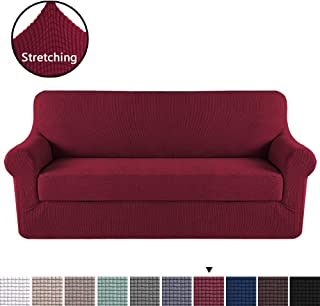 H.VERSAILTEX High Stretch Sofa Cover 2 Pieces Machine Washable Stylish Furniture Cover/Protector with Spandex Jacquard Checked Pattern Fabric (Sofa, Burgundy)