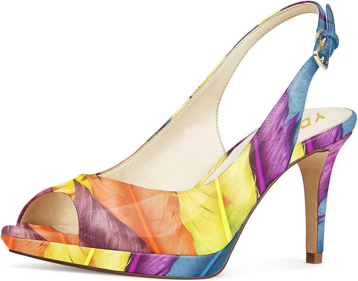 YDN Women Sexy High Heels Pumps Platform Quantity limited Block Toe Peep Arlington Mall Slingbac