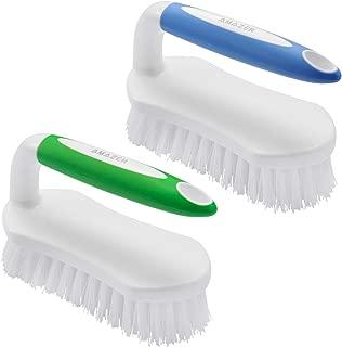 Amazer Scrub Brush Comfort Grip & Flexible Stiff Bristles Heavy Duty for Bathroom Shower Sink Carpet Floor - Pack of 2 (Blue+Green)