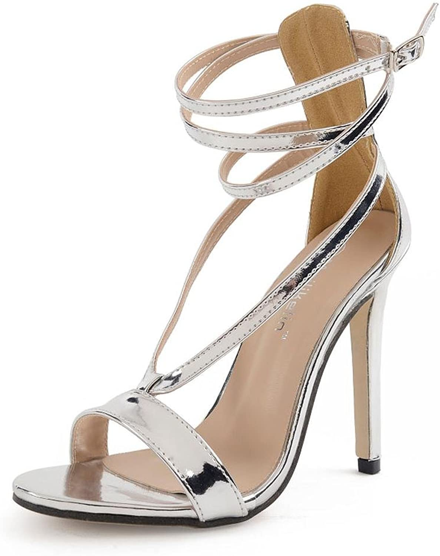 Frauen High Heels Silber Herbst Herbst Kreuz mit Hollow 11cm Tanz Cool Schuhe  bis zu 65% Rabatt