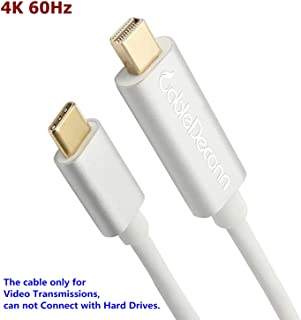 CABLEDECONN USB C To Mini Displayport Cable, USB-C Type c to Mini DisplayPort/Mini DP 4K 60Hz Resolution Active Cable Adapter 6FT with Aluminium Case for Apple New Macbook Pro 2017 Samsung Galaxy S8