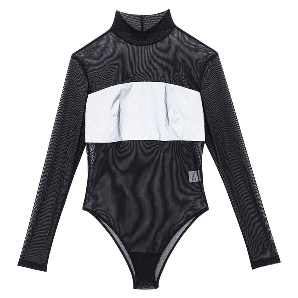 Women Lingerie Sleepwear Dress Underwear Perspective Reflective Stripe Silky Nighty Black