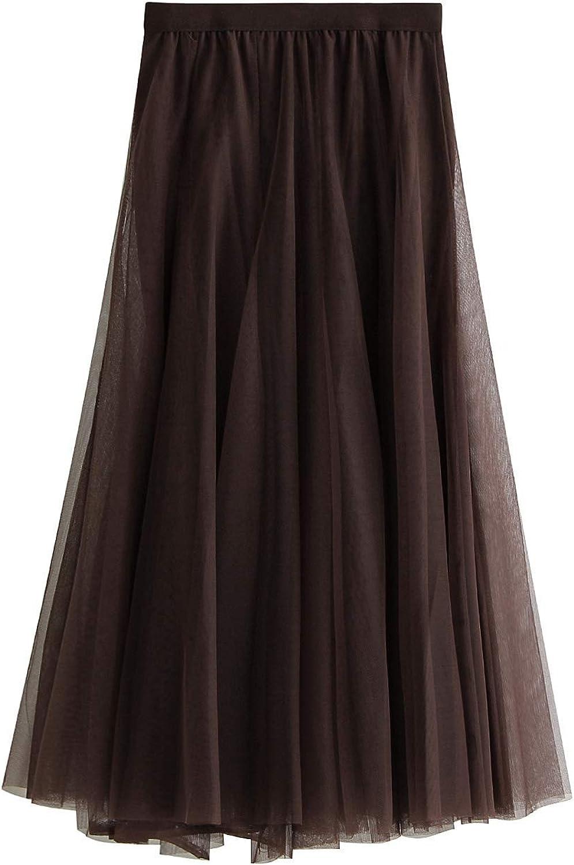 brilliantme Women Chiffon Tulle Elastic Floral Print Mesh Overlay Layered A Line Midi Skirt