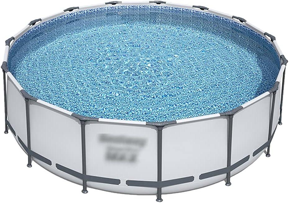 piscina de Palo de Marco, súper Grande, Patio con múltiples Personas, Plegable con Filtro de Oliva, Soporte de Metal (Color : Gray, Size : 427 * 107cm)